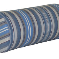 "A&L Furniture 18"" Weather-Resistant Outdoor Acrylic Bolster Pillow, Blue Stripe"