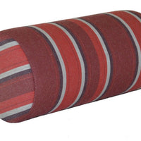 "A&L Furniture 18"" Weather-Resistant Outdoor Acrylic Bolster Pillow, Red Stripe"