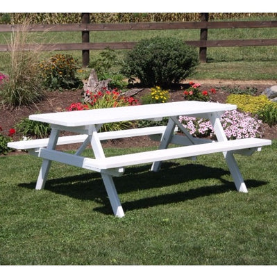 A&L Furniture Amish-Made Pine Picnic Table with Attached Benches, White