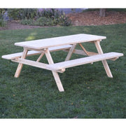 A&L Furniture Amish-Made Pressure-Treated Pine Picnic Table with Attached Benches, Unfinished