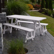 A&L Furniture Pine Traditional Picnic Table with Benches, White