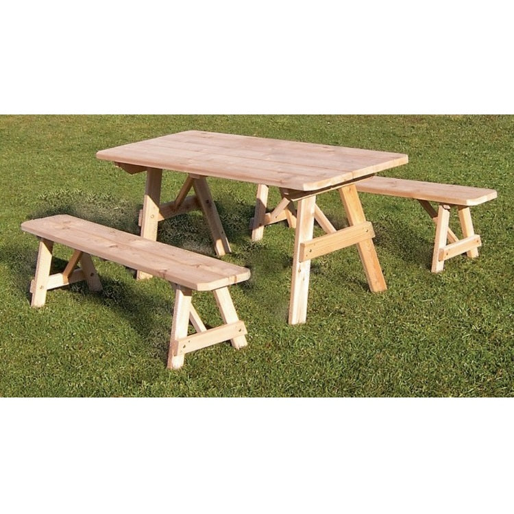 A&L Furniture Co. Amish-Made Cedar Traditional Picnic Table with Benches, Unfinished
