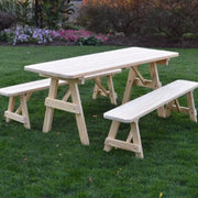 A&L Furniture Amish Pressure-Treated Pine Traditional A-Frame Picnic Table and Benches, Unfinished
