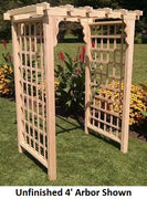 Amish-Made 4' Pine Lexington Arbor with square lattice and straight cross-bar