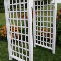 Amish-Made 4' Pine Cambridge Arbor with square lattice and arched cross-bar