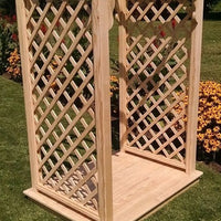 Amish-Made 4' Pine Jamesport Arbor with diamond lattice and arched cross-bar