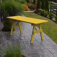 A&L Furniture Amish-Made Pine Traditional Picnic Table, Canary Yellow