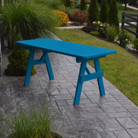 A&L Furniture Amish-Made Pine Traditional Picnic Table, Caribbean Blue