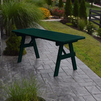 A&L Furniture Amish-Made Pine Traditional Picnic Table, Dark Green