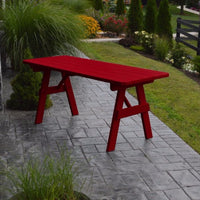 A&L Furniture Amish-Made Pine Traditional Picnic Table, Tractor Red