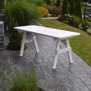 A&L Furniture Amish-Made Pine Traditional Picnic Table, White