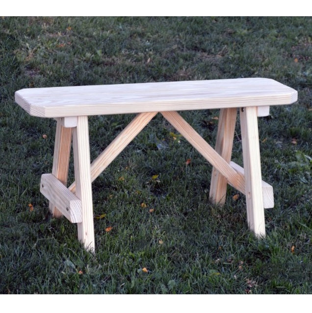 A&L Furniture Amish-Made Pine Traditional A-Frame Bench, Unfinished