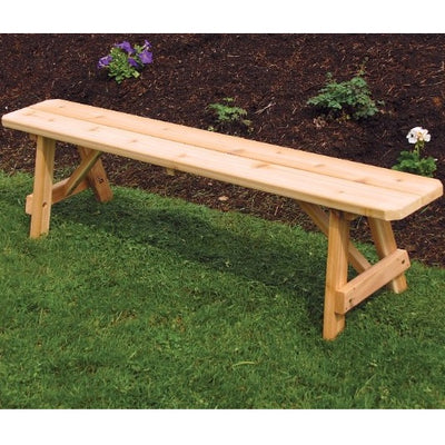 A&L Furniture Co. Amish-Made Cedar Traditional A-Frame Bench, Unfinished