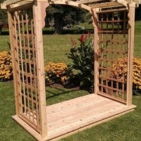 Amish-Made 4' Cedar Cambridge Arbor with square lattice and arched cross-bar