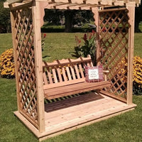 Amish-Made 5' Cedar Arbors with Deck and Swing