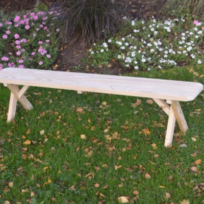 A&L Furniture Amish-Made Pressure-Treated Pine Cross-Leg Bench, Unfinished