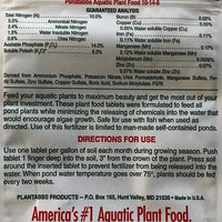 Rear label for Pondtabbs® 10-14-8 Aquatic Fertilizer Tablets