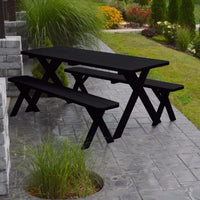 A&L Furniture Amish-Made Pine Cross-Leg Picnic Tables with Benches, Black