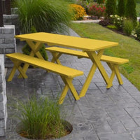 A&L Furniture Amish-Made Pine Cross-Leg Picnic Tables with Benches, Canary Yellow