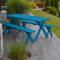 A&L Furniture Amish-Made Pine Cross-Leg Picnic Tables with Benches, Caribbean Blue