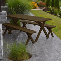 A&L Furniture Amish-Made Pine Cross-Leg Picnic Tables with Benches, Coffee