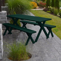A&L Furniture Amish-Made Pine Cross-Leg Picnic Tables with Benches, Dark Green