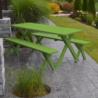 A&L Furniture Amish-Made Pine Cross-Leg Picnic Tables with Benches, Lime Green