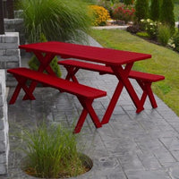 A&L Furniture Amish-Made Pine Cross-Leg Picnic Tables with Benches, Tractor Red