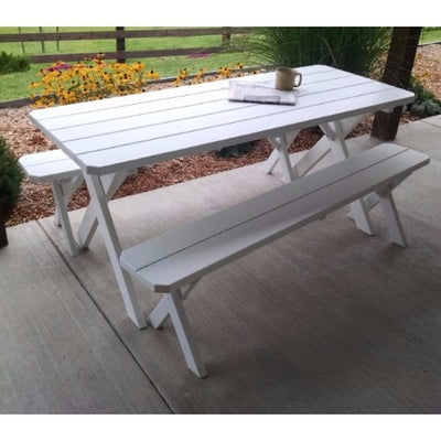 A&L Furniture Amish-Made Pine Cross-Leg Picnic Tables with Benches, White