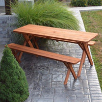 A&L Furniture Amish Cedar Cross-Leg Picnic Tables with Benches, Cedar Stain