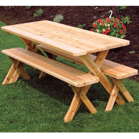 A&L Furniture Amish Cedar Cross-Leg Picnic Tables with Benches, Unfinished