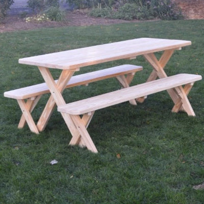 A&L Furniture Amish-Made Pressure-Treated Pine Cross-Leg Picnic Table and Benches, Unfinished