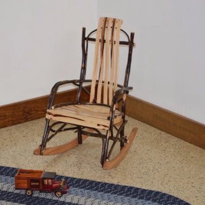 A&L Furniture Amish-Made Rustic Hickory Child's Rocker