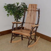 A&L Furniture Amish-Made Large Rustic Hickory 9-Slat Rocking Chair