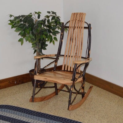 A&L Furniture Amish Rustic Hickory 7-Slat Rocking Chair