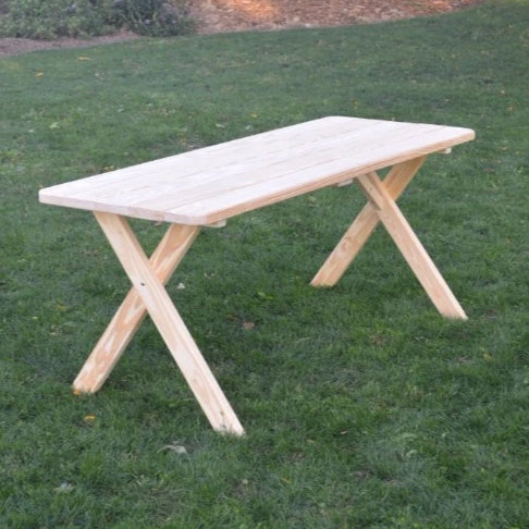 A&L Furniture Amish-Made Pressure-Treated Pine Cross-Leg Picnic Table, Unfinished