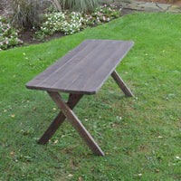 A&L Furniture Amish-Made Pressure-Treated Pine Cross-Leg Picnic Table, Walnut Stain