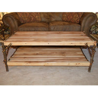 A&L Furniture Rustic Hickory Coffee Table with Shelf