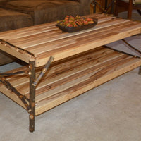 Diagonal view of A&L Furniture Rustic Hickory Coffee Table with Shelf