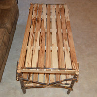 Top view of A&L Furniture Rustic Hickory Coffee Table with Shelf