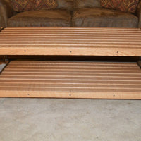 A&L Furniture Hickory Coffee Table with Shelf, Natural Finish