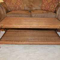 A&L Furniture Hickory Coffee Table with Shelf, Walnut Finish