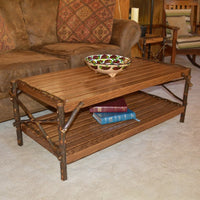 Diagonal view of A&L Furniture Hickory Coffee Table with Shelf, Walnut Finish