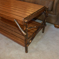 Side view of A&L Furniture Hickory Coffee Table with Shelf, Walnut Finish