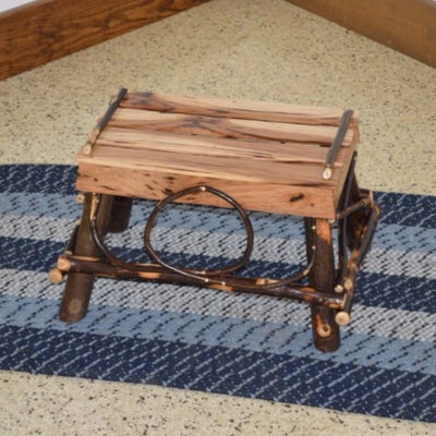 A&L Furniture Amish-Made Rustic Hickory Foot Stool