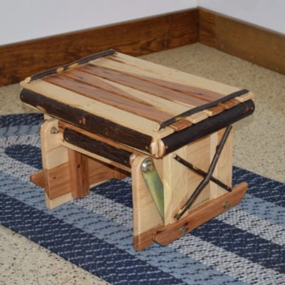 A&L Furniture Amish-Made Rustic Hickory Gliding Ottoman