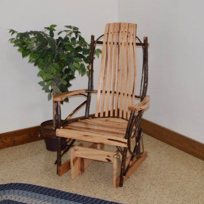 A&L Furniture Amish-Made Rustic Hickory Glider Rocker