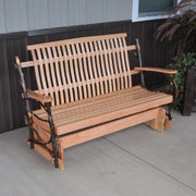 A&L Furniture Co. Amish-Made 5' Hickory Porch Glider, Natural Finish