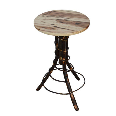 A&L Furniture Amish-Made Hickory Accent Table, Rustic Hickory