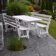 A&L Furniture Pine Traditional Picnic Table with Backed Benches, White